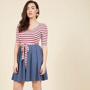In the Very Near Twofer Striped Dress in Americana
